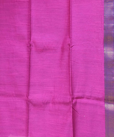 Maheshwari Magenta Red Handloom Cotton Silk Saree