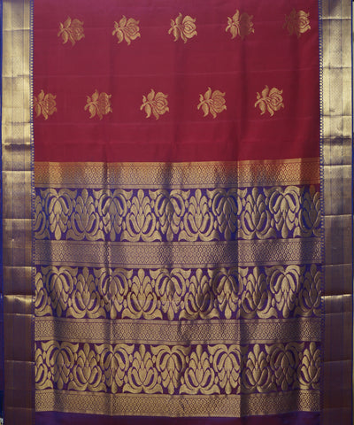 Maroon and Purple Handloom Soft Silk Saree