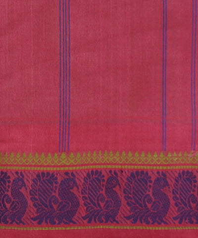 Brown Peach Handwoven Kanchi Cotton Saree