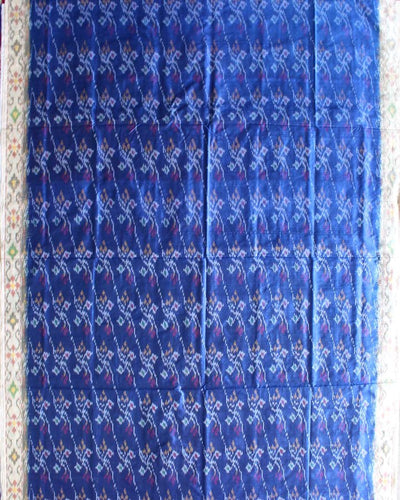 Ikkat silk saree with Blue shade