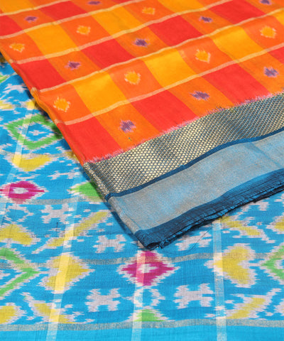 Yellow Orange Check Handloom Ikkat Silk Saree