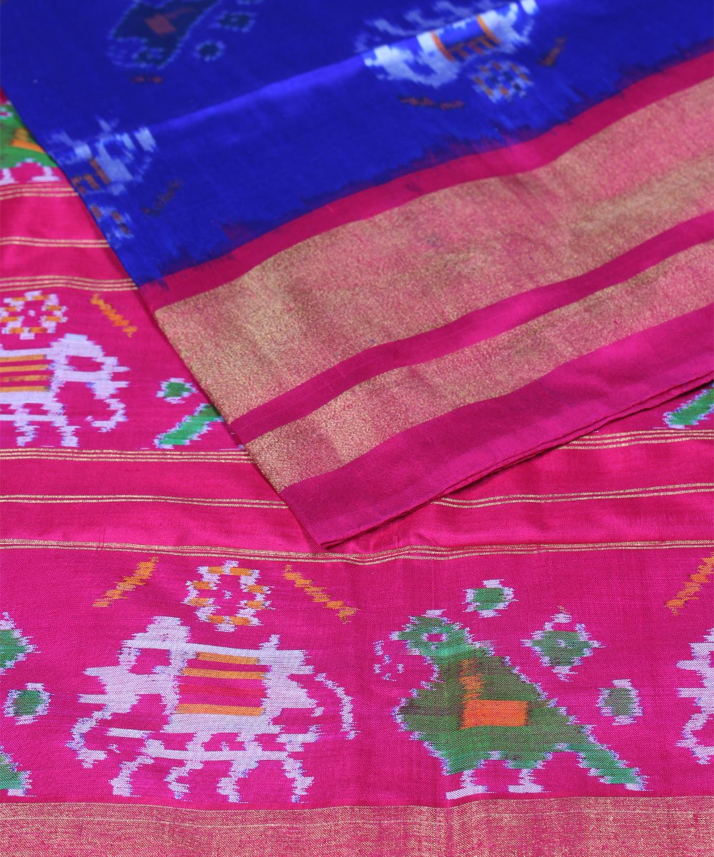 Royal Blue Pink Handloom Ikkat Silk Saree