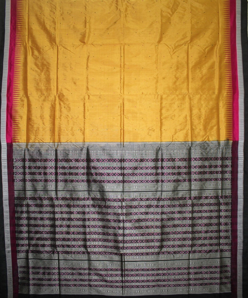 Handwoven Bomkai Silk Saree of Sonepur in Golden and Black