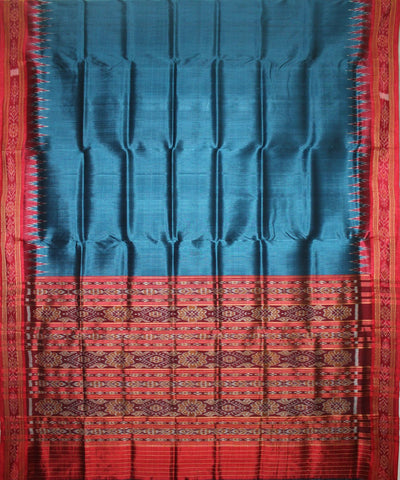 Handwoven Khandua Silk Saree of Nuapatna in Peacock Blue and Maroon