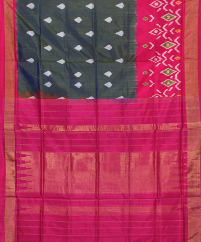 Slate Grey Pink Handwoven Ikkat Silk Saree