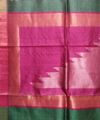 Handwoven Dull Green Pink Tussar Silk Saree