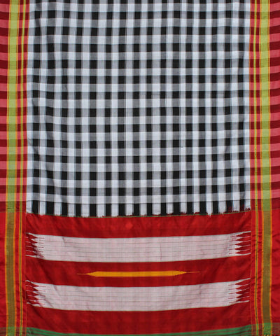 Black White Handloom Ilkal Saree
