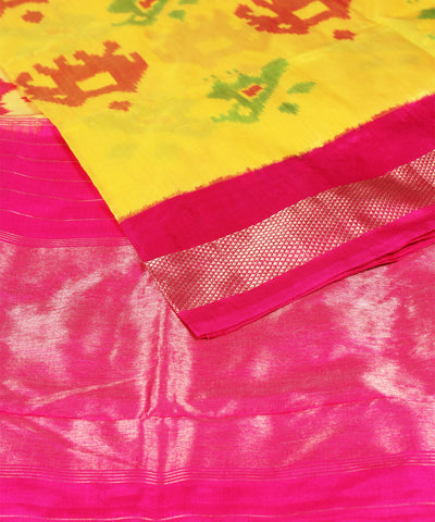 Ikat Rajkot Silk Yellow Pink Handloom Saree