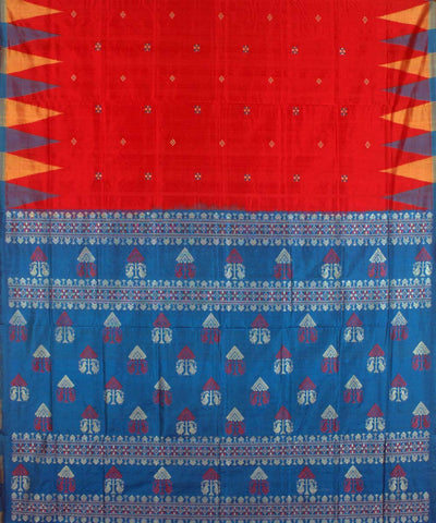 Red blue Bomkai Buti Silk Ikat Saree