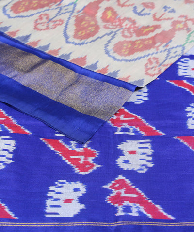 Peacock Motif Blue Handloom Ikkat Silk Saree