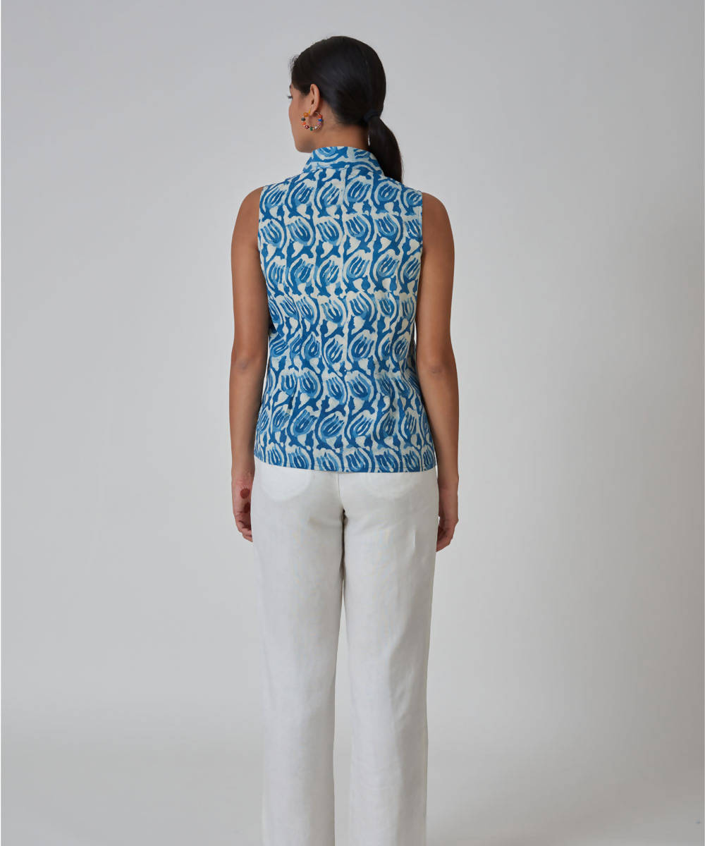 Handblock Printed Indigo cotton Sleeveless Collar Shirt