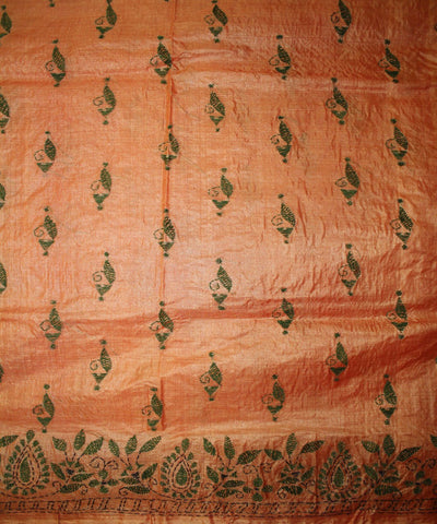 Handwoven Kantha Stitch Tussar Silk Saree in Flame
