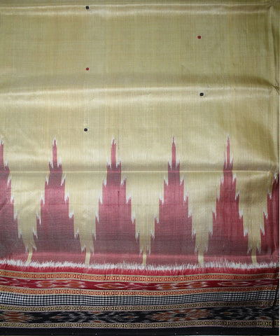 Handwoven Khandua Silk Saree of Nuapatna in Arylide Yellow and Black