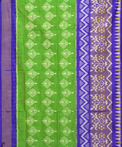 Handloom Green Blue Ikkat Silk Saree