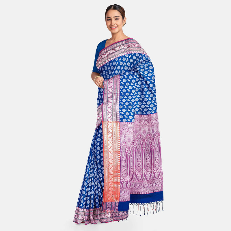 Biswa Bangla Handwoven Silk Saree - Blue and Pink