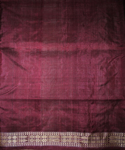 Handwoven Tussar Silk Saree of Gopalpur in Offwhite and Deep Ruby