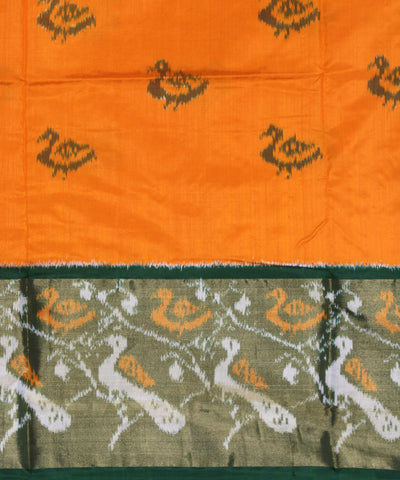 Orange Dark Green Handwoven Ikat Silk Saree