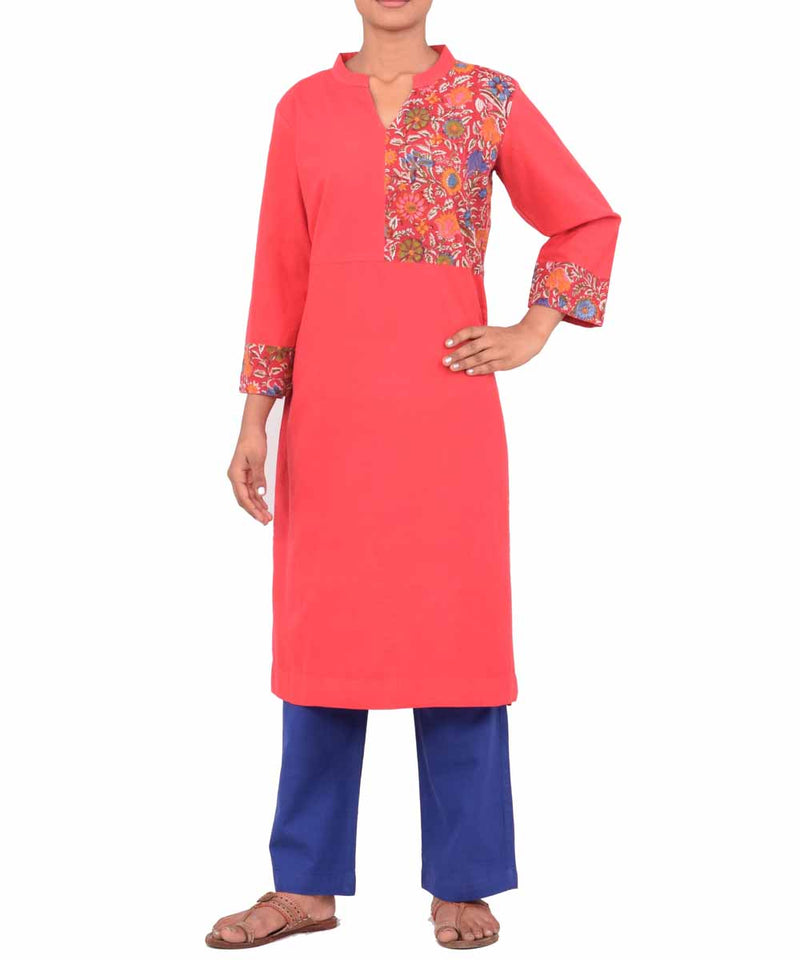 Red Handwoven Printed Patch Kurti