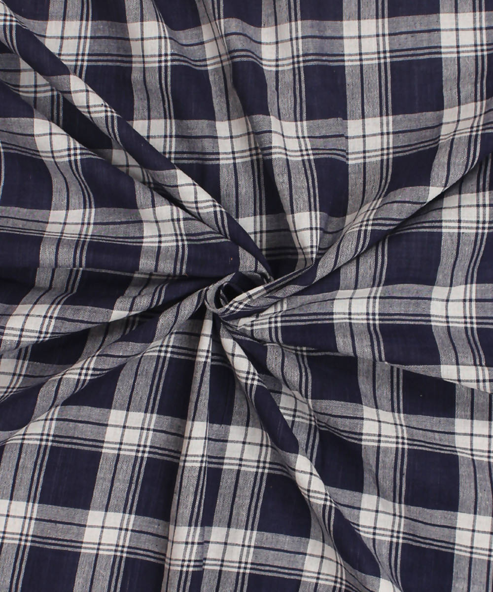 Handwoven Navy Blue Checks Cotton Fabric