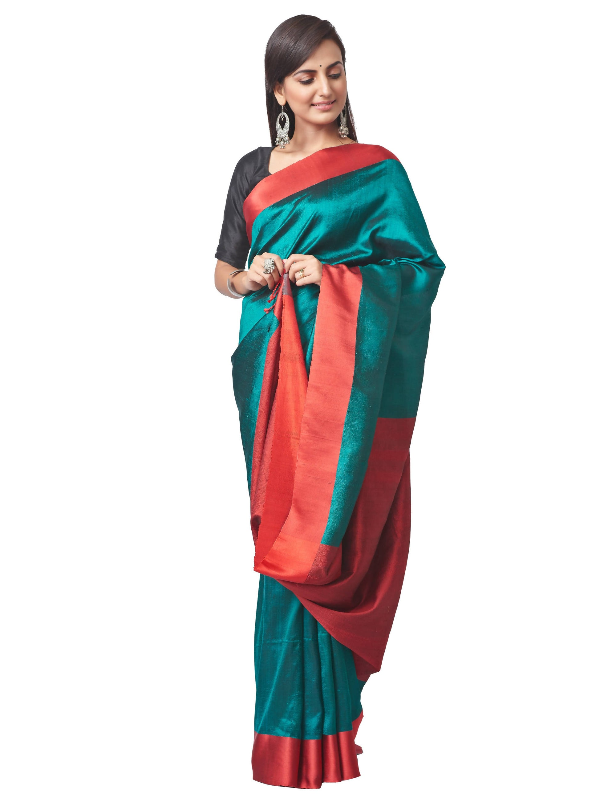 Biswa Bangla Handwoven Silk Saree - Green