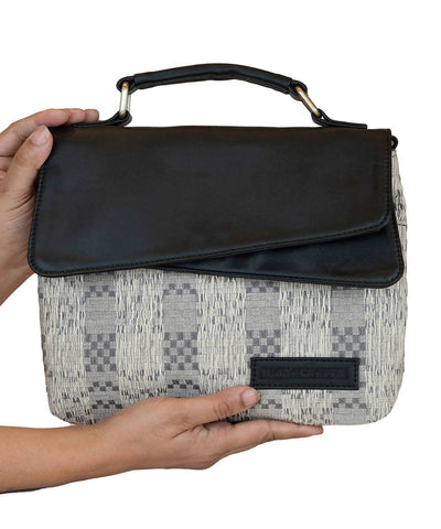 White black Handwoven Cotton Sling Bag