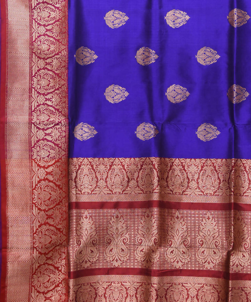 Navy Blue Banarasi Handloom Silk Saree