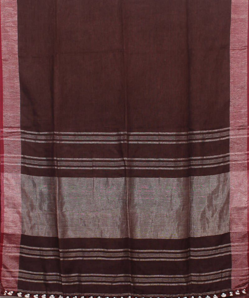 Bengal Handloom Linen Brown Saree