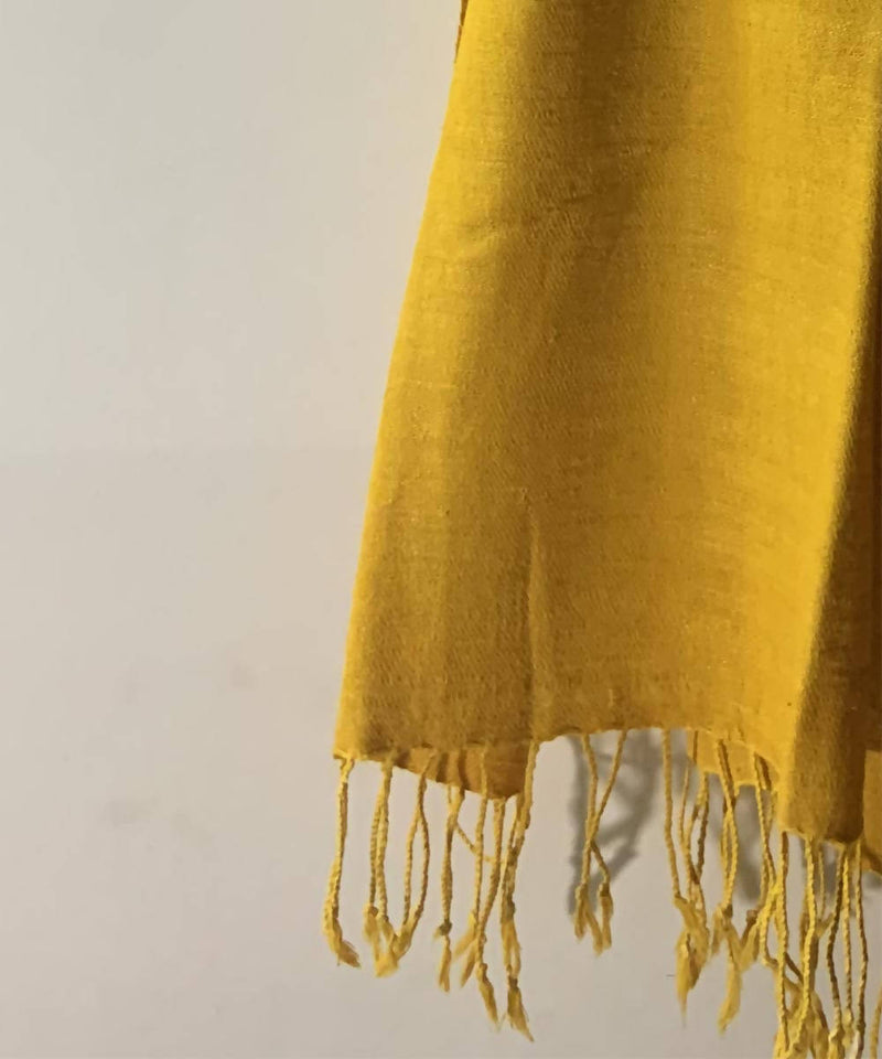 Yellow natural dyed assamese eri silk handwoven stole