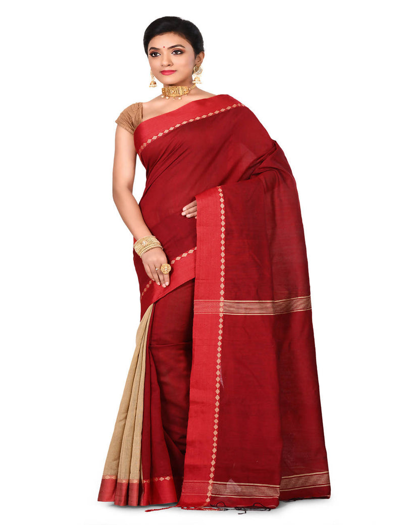 Red Bengal Handloom cotton silk saree