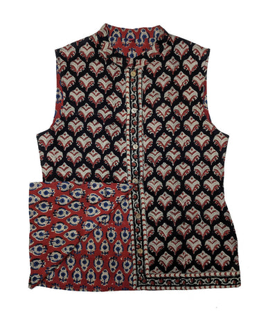 Maroon and black hand block printed cotton reversible jacket