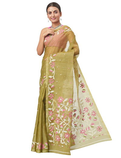 Biswa Bangla Handloom Kora Silk Jamdani Saree - Olive Green