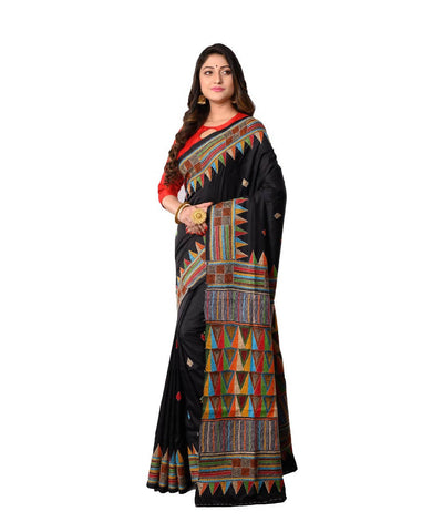 Bengal Handcrafted Black Kantha Stitch Saree
