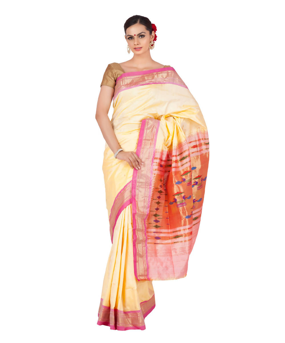 Cream handloom paithani silk saree
