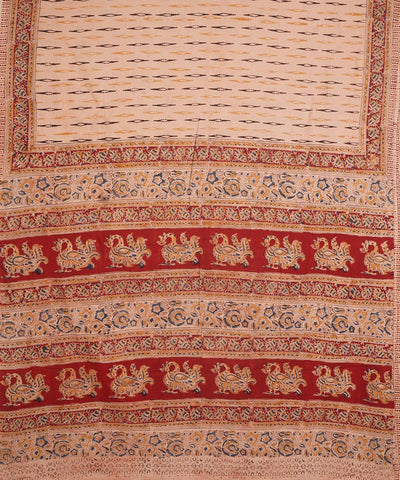 Cream Hand Block Print Kalamkari Cotton Saree