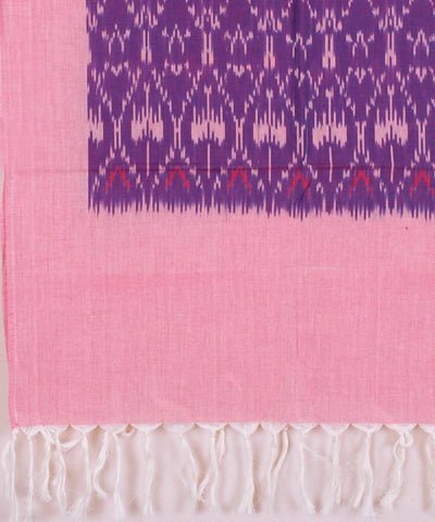 Handloom purple peach Ikat cotton stole