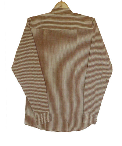 Brown Stripe Handspun Handwoven Cotton mandarin Collar Shirt