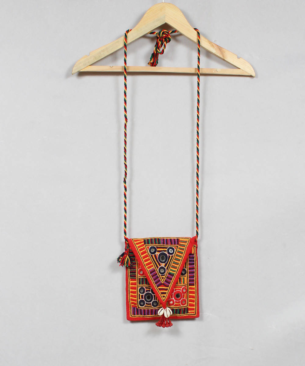 Lambani Embroidery Orange Red Sling Bag