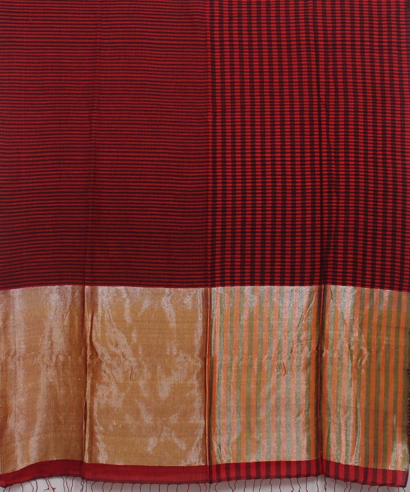 Bengal Handloom Red Black Cotton Saree