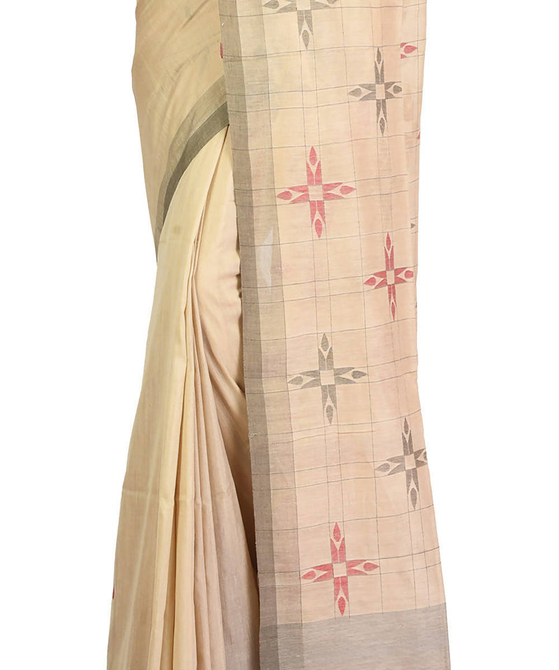 Cream handwoven bengal cotton silk saree
