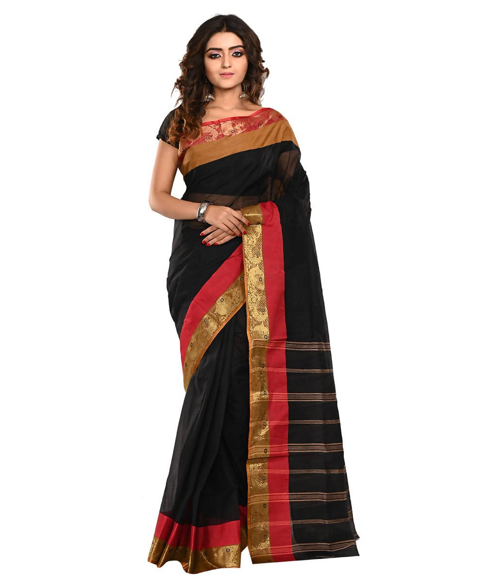 Bengal Black Handloom Cotton Saree