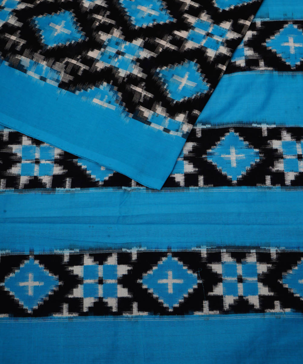 Sky Blue Double Ikat Telia Rumal Cotton Saree
