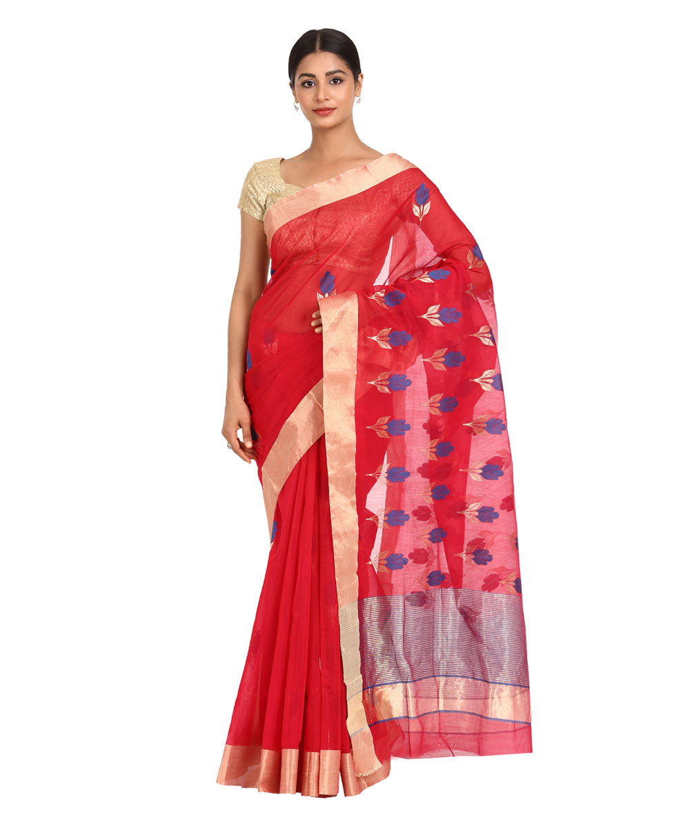 Red Floral Handwoven Chanderi Sico Saree