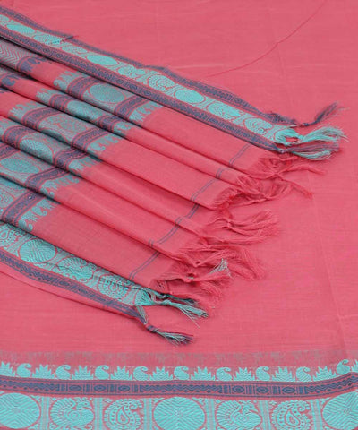 Peach Pink Handwoven Dindigul Cotton Saree