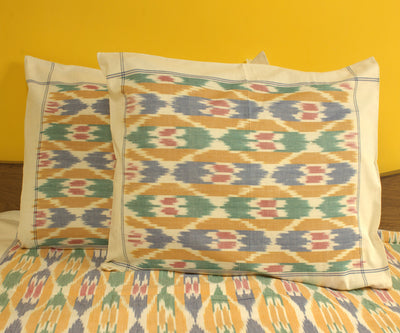 Multi colour Handwoven Ikat Bed Sheet