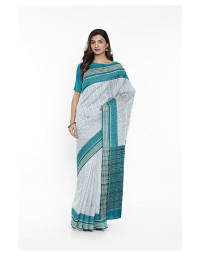 Off White Sea Green Sambalpuri Ikat Saree