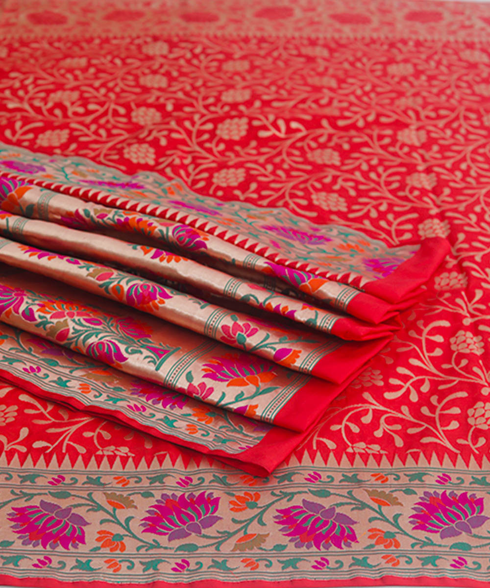 Banarasi Crimson Red Handloom Silk Saree