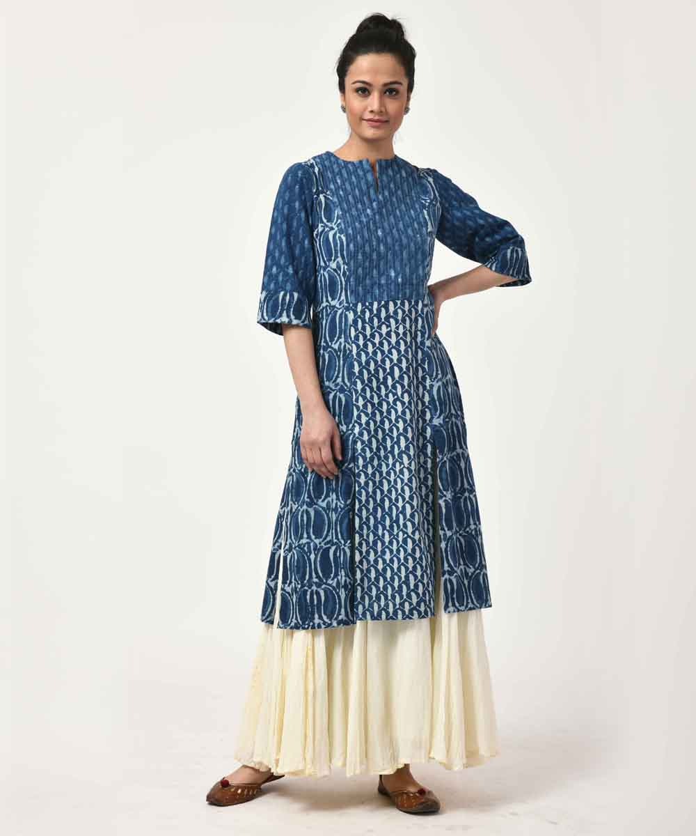 Indigo with Sleeve Long Cotton Kurti
