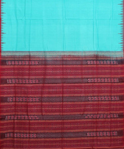 Sea Green Maroon Handloom Sambalpuri Saree