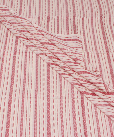 White Red Stripe Nuapatna Handloom Fabric