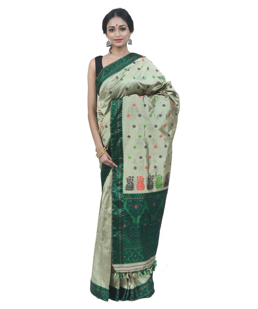 Pastel green handwoven assam silk saree